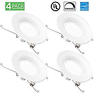 Sunco Lighting 4 Pack of 13W 5/6inch Dimmable LED Retrofit Recessed Lighting Fixture (=75W) 3000K Warm White Energy S...