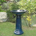 Aviatra Ceramic Birdbath in Blue Midnight- Smart Garden-Outdoor Living-Outdoor Decor-Fountains & Pumps