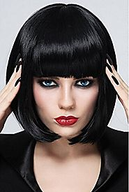 Short Bob Wigs Black Wig for Women with Bangs Straight Synthetic
