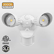 20W Dual-Head Motion-Activated LED Outdoor Security Light, Photocell Included, Newly Designed 3 Lighting Modes, 3000K...