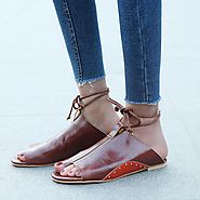 Women's Flat-Bottomed Open Roman Sandals – Dash2Style