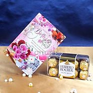 Birthday Greeting Card with Ferrero Rocher Chocolate