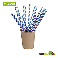 Biodegradable Paper Straws available both Wrapped & Unwrapped at PacknWood.com