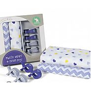All4Ella 2 Pack Wraps & 4 Pegs - Hearts & Chevron Purple