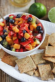 Honey Lime Fruit Salad with Homemade Cinnamon Sugar Chips - Lexi's Clean Kitchen