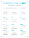 Don't Break the Chain Calendar 2014
