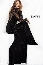 Black Long Sleeve Beaded Prom dress