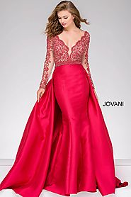 Red Lace Bodice Long Sleeve Pageant Dress