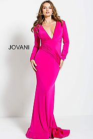 Hot Pink Long Sleeve Plunging Neck Prom Gown
