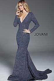 Gunmetal Long Sleeve Plunging Neck Glitter Evening Dress