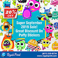 Super September 2019 Sale 20% Discount on Puffy Stickers | RegaloPrint