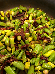 Fresh Asparagus, Snap Peas and Sundried Tomatoes