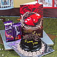 Buy CADBURY DAIRY MILK CHOCOLATE WITH CHOCOLATE CAKE AND LOVE GREETING CARDOnline - OyeGifts