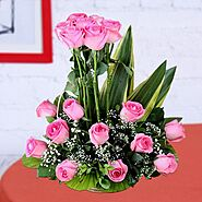 Buy or Order Pink Roses Basket Online | Same Day Delivery Gifts - OyeGifts.com