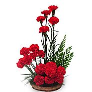 Passionate Love - A Beautiful Basket of 20 red carnations - OyeGifts.com
