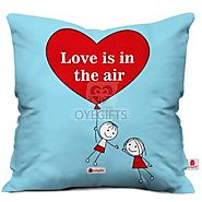 Flying Couple In Love Blue Cushion Cover