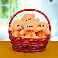 Buy or Order Teddy In A Basket - Same Day Delivery Gifts : OyeGifts