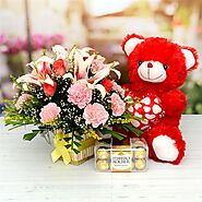 Buy or Order Flower Basket with Teddy and Ferrero Rocher Online - OyeGifts