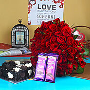 Website at https://www.oyegifts.com/red-roses-bouquet-with-chocolate-cake-and-silk-chocolate