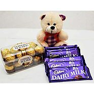 Send ATTRACTIVE TEDDY ROCHER WITH CHOCOLATES Same Day Delivery - OyeGifts