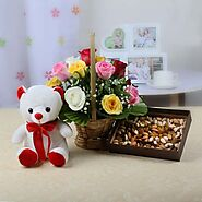 15 Mix Roses Basket with Teddy & Assorted Dryfruits