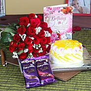 Roses with Pineapple Cake and Cadbury Silk for Birthday