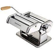 Ovente PA591S Vintage Stainless Steel Pasta Maker, Polished Chrome
