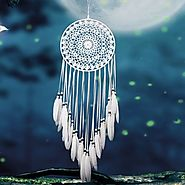 White Lace Feather Authentic Dream Catcher
