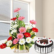 Mix Gerbera Arrangement With Cake