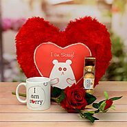 Buy or Order Sorry Mug & Pillow With A Rose & Chocolate Online - OyeGifts