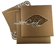 Bronze colored Floral laser cut wedding invitation card