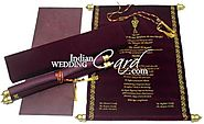 Red Color Scroll Wedding Anniversary Invitations Card