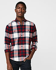Slim Plaid Flannel Stretch Shirt