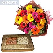 Send Mix colorful gerberas with Dryfruit Same Day Delivery - OyeGifts