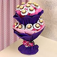 Buy / Send 2 tier Ferrero Rocher Bouquet Gifts online Same Day & Midnight Delivery across India @ Best Price | OyeGifts