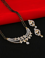 Gold Finish Designer Mangalsutra Studded With Diamonds For Women