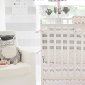 Chevron Crib Bumper, Pink/Gray