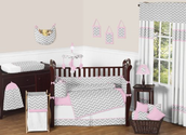 Pink and Gray Chevron Zig Zag Baby Bedding 9pc Crib Set by Sweet Jojo Designs