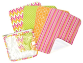 Zipper Pouch and 4 Burp Cloth Gift Set, Savannah Pink