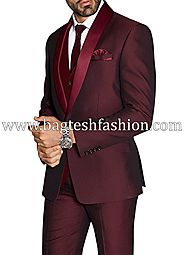 Grooms Burgundy Wedding Tuxedo Suit