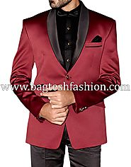 Buy Wedding 2 Button Burgundy Tuxedo Suit Online