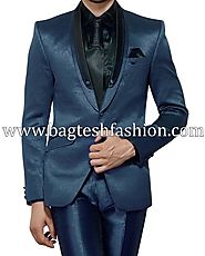 Buy Sea Green Shawl Collar Tuxedo Suit Online