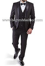 Buy Groomsmen Purple Gray Tuxedo Suit Online