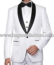 Buy Tailored White Groomsman Tuxedo Suit Online