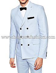 Buy Double Breasted Linen Partywear Suit Online
