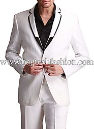 Buy Awesome White Linen Party Wear Suit Online