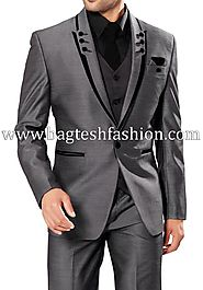 Buy Classic Mens Gray Party Wear Suit Online