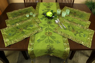 Hand Painted 7-Piece Placemat & Table Runner Set Lime Green