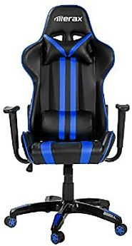 Merax Ergonomic High Back Reclining Chair, Blue and Black