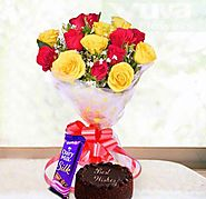 A Beautiful Bouquet Containing ( Yellow & Red) Six Roses Dairy Milk Silk and Chocolate Cake